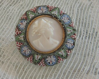 Micromosaic Cameo Brooch, Mother of Pearl Cameo