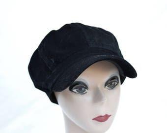 Black Corduroy Newsboy Cap / Mod Newsboy Cap / Cotton Corduroy Newboy Cap / Mod Velvet Cap