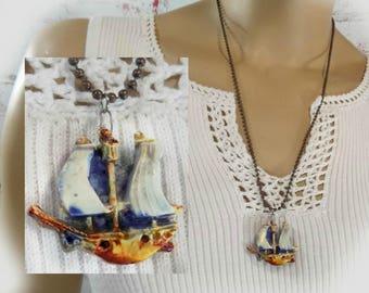 Pirate Necklace, Pirate Ship Necklace, Pirate Jewelry,High Sea Necklace -Nautical necklace - Pirate Ship Pendant, Pirate Ship Jewelry # 164