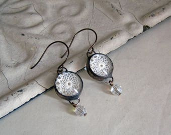 New! Lace Soldered Glass Earrings with Bead Drop