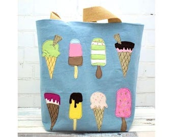 Ice Cream  Beach or Large Tote Bag pattern pdf instant download