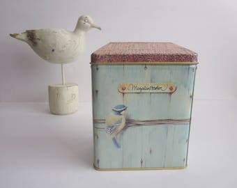 Vintage Birdhouse Metal Tin Box -  Birdhouse Metal Tin Container - Marjolein Bastin Art Work For Hallmark 1995 Storage Box