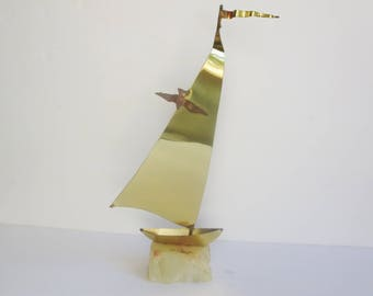 Vintage Brass Sailboat -   DeMott Signed Brass Sailboat Quartz Mounted Sculpture - Nautical Decor