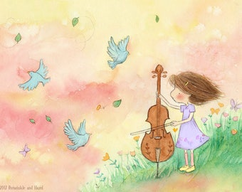 Cello for the Bluebirds  - Girl With Cello - Brown Auburn or Blonde Hair - Art Print