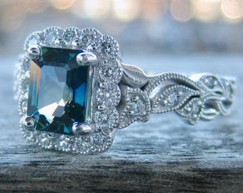 Vintage Inspired Vine Ring with Teal Blue Green Sapphire & Diamonds in 14K White Gold Mounting with Mil Grain Finish Size 9