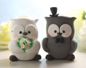 Unique Owls wedding cake toppers - bride groom figurines personalized elegant funny rustic country grey love birds wedding decor animals