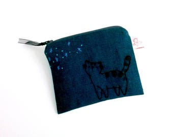 Embroidery coin purse coin pouch blue linen pouch black cat gift Halloween gift Halloween cat blue night sky purse mystery gift