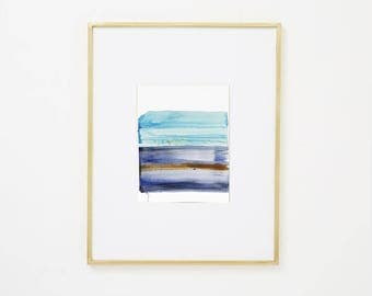 """Abstract Contemporary Original Watercolor Painting, blue, brown, purple 8 x 10"""" expressionist art """"Painting 984"""" modern minimal colorful art"""