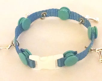 Snappy Dog Bone Dog Collar Bracelet--Blue tones