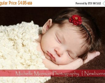 sale Newborn Headband Red Small Flower Headband Infant Headband Toddler Headband Baby Girl Flower Headband Newborn Photography Prop Photo Pr