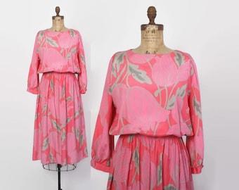 Vintage 80s Tropical Print Dress / 1980s Silky Pink & Gray Bold Print Dress