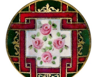 OH BOY SALE Button--Late 19th C. Hand Painted & Champleve Enamel Rose Trellis