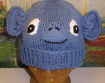 50% OFF SALE madmonkeyknits blue monkey beanie hat animal hat pdf knitting pattern - Instant Digital File pdf download knitting pattern