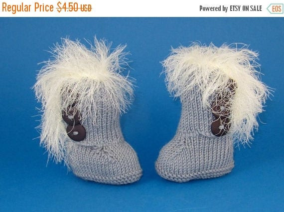 50% OFF SALE Instant Digital File PDF Download knitting pattern only-Baby Super Furry 3 Button Booties  pdf knitting pattern