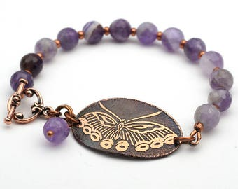 Purple butterfly bracelet, copper and amethyst jewelry, 8 inches long