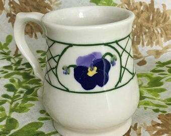 Christmas Sale Vintage PANSY Mug Hartstone USA Pttery Crockery 1976 1970s