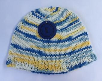 Beach Boy Hat – Blue, Yellow, White – Size 6-12 Months