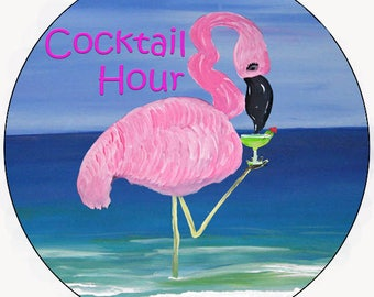 Flamingo cocktail hour car coasters from my artwork