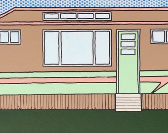 Mid Century Modern Pop Art Trailer Painting