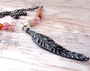 Bohemian Feather Necklace - Womens Boho Feather Necklace - Feather Boho Necklace - Long Boho Gemstone Necklace - Long Gemstone Necklace