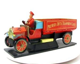 Vintage Premiata Ditta Trasporto Caffe Advertising Toy Fiat Tin Litho Truck Car