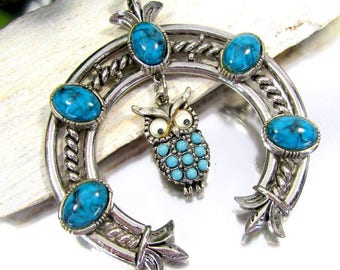 Vintage Art Jewelry Co SQUASH BLOSSOM OWL Necklace Tribal Faux Turquoise Silver
