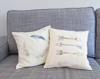 organic pillow cover, arrows pillow, throw pillow, boho decor, tribal decor, hand embroidered