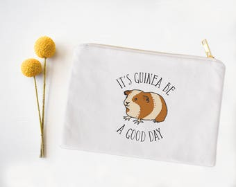 Cosmetic Bag, Guinea Pig Cosmetic Bag, Pencil Case, Catch All Bag, Pun, Cute Cosmetic Tote, Makeup Bag, Cute Makeup Bag, Guinea pig pun