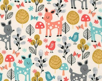 Remnant end of bolt 18x44 inches Acorn Forest Sorbet Robert Kaufman Fabric