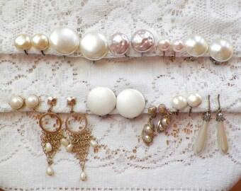 Destash Lot 11 Pairs Faux Pearl Vintage Earrings, Clip On / Clip Ons, Screw Back / Screw Backs, Dangling, Marvella, Japan, Sarah Coventry