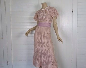 30s Lace Dress in Blush Pink- 1930s Art Deco Starlet Trumpet Dress w/ Flutter Sleeves- Extra Small- Wedding Dress