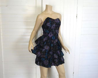 80s Party Dress in Dark Floral- Black, Teal, Purple- 1980s Strapless Cotton Ruffle Dress- Small- Club / Goth / New Wave