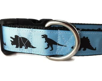 Dog Collar, Blue Dino, Dinosaur, 1 inch wide, adjustable, quick release, metal buckle, chain, martingale, hybrid, nylon