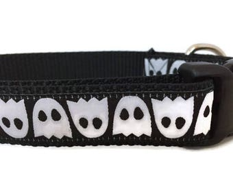 Halloween Dog Collar, Ghosts, 1 inch wide, adjustable, quick release buckle, metal buckle, chain, martingale, hybrid, heavy nylon, black