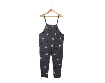 Tumbling Triangles Overalls - Oversized Jumpsuit, Simple Pocket Romper, Vintage Cropped Linen Pants in Slate Grey - Size M-5XL