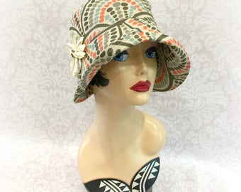Summer Cloche - Flapper Hat - Art Deco Print Hat - Downton Abbey Cloche - 1920's Style Hat - Ready to Ship Hat - Size Small Handmade USA