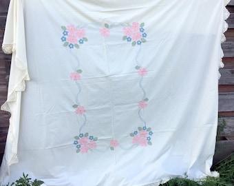 Vintage Cotton Embroidery Applique Pink Flowers Lace Edge Coverlet Bedspread