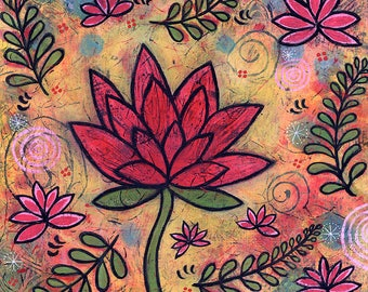 Colorful Lotus Painting - Lotus Garden