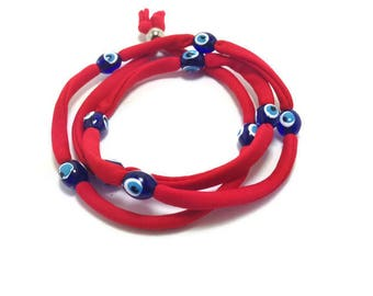 Red Evil eye lucky string wrap bracelet - Stainless steel - Friendship bracelet