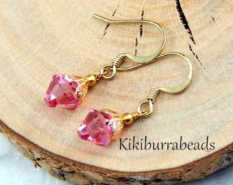 Christmas gift for her,crystal earrings, Pink Swarovski Crystal Earrings, Rose Pink, Crystal Drop, Gold Earrings