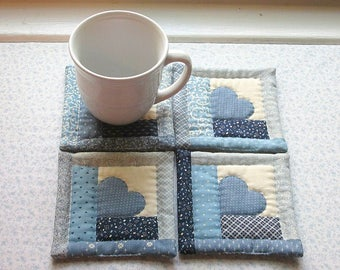vintage fabric log cabin blue hearts hand quilted set of mug rugs coasters