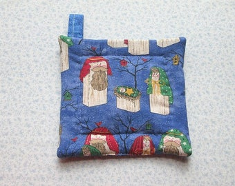 nativity wooden christmas toys hand quilted insulated potholder hot pad with loop to hang