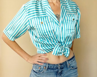 vintage 90s silk shimmer turquoise striped blouse S-M