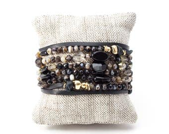 Black Onyx Wrap Bracelet, Black Wrap Bracelet, Black Onyx Necklace, Leather Wrap Bracelet, Gemstone Necklace, Onyx Bracelet, Adjustable Wrap