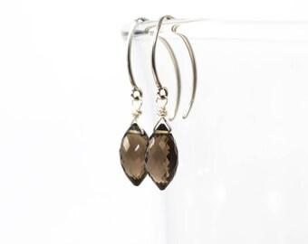 Smokey Quartz Earrings, Silver Dangle Earrings, Smokey Quartz Drop Earrings, Smokey Quartz Marquis Earrings, Wire Wrapped Dangle Earrings
