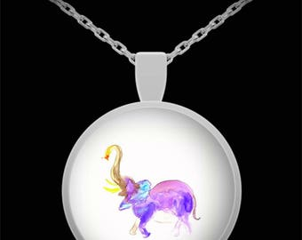 Lil Elephant Pendant Necklace - Wearable art - Whimsical gift for her - Animal necklace