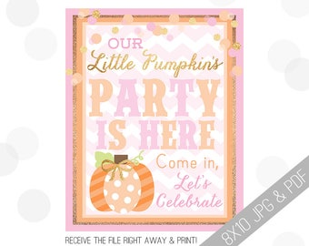 Pumpkin Party Printables | Pumpkin Welcome Sign | Door Sign | Little Pumpkin | Little Pumpkin Party | Pumpkin Birthday Decor |