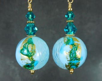 Aqua Blue Teal Gold Murano Glass Dangle Earrings, Venetian Glass Earrings, Modern Earrings Sparkling Earrings Murano Jewelry 14K Gold Filled