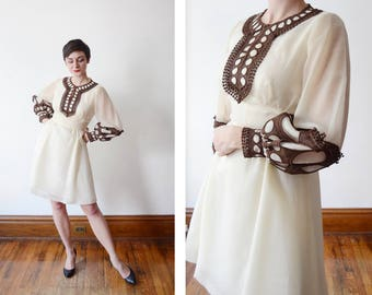 Late 60s Early 70s Alfred Werber Cream and Brown Mini Dress - S