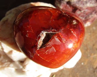 Carnelian Palm Stone Heart~Love~Passion~Stone~ Valentine's Day~Creativity and Courage~#3